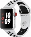 Apple - Geek Squad Certified Refurbished Apple Watch Nike+ Series 3 (GPS + Cellular), 38mm with Pure Platinum Sport Band - Silver Aluminum