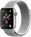 Apple - Apple Watch Series 4 (GPS + Cellular), 44mm Silver Aluminum Case with Seashell Sport Loop - Silver Aluminum