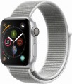 Apple - Apple Watch Series 4 (GPS), 40mm Silver Aluminum Case with Seashell Sport Loop - Silver Aluminum