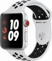 Apple - Apple Watch Nike+ Series 3 (GPS + Cellular), 42mm Silver Aluminum Case with Pure Platinum/Black Nike Sport Band - Silver Aluminum-6090700