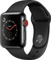 Apple - Apple Watch Series 3 (GPS + Cellular), 38mm Space Black Stainless Steel Case with Black Sport Band - Space Black Stainless Steel