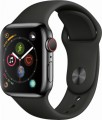 Apple - Apple Watch Series 4 (GPS + Cellular), 40mm Space Black Stainless Steel Case with Black Sport Band - Space Black Stainless Steel